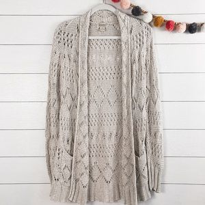 Lucky Brand   Open Knit Long Duster Cardigan